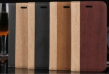 Wood leather Wallet Stand Magnetic Closed Case for iPhone 6, iPhone 5 and iPhone 4 and for Samsung S5 and Note 3