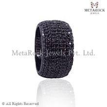 Black Diamond Band Ring Sterling Silver Diamond Ring, Handmade Black Diamond Ring Party Wear Diamond Ring, Diamond Jewelry