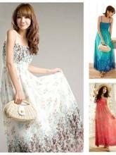 Women's Straps Long Chiffon Dress