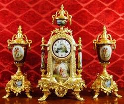 Original Authentic 19th century Antique French European bronze & Sevres porcelain mantel clock garniture set