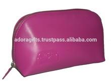 Zip Around Leather Cosmetic Bag /Wholesale PU Leather Cosmetic Pouch / Pink Cosmetic Bag For Ladies