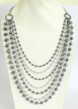Designer crystal beaded on metal chain imitation necklace jewelery