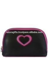 ADACB - 0124 Zipper Closure Heart DesaBlack Cosmetic Case / New Black Heart Printed Cosmetic Bag / Leather Cosmetic Bag
