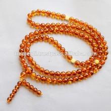 Cognac Amber Buddhist Rosary, 6,5 mm
