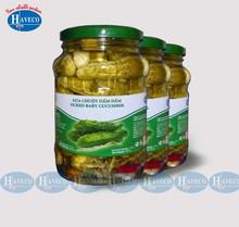 Pickled baby cucumber 6-9 cm in jar 720ml, drum