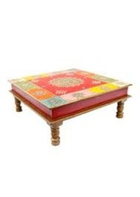 Indian wooden hand painted beautiful hand carved multi colour choki/stool