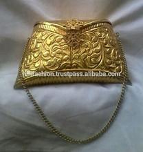 Crafted handmade brass metal gold color Ladies clutch Handbag