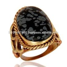 Singular de obsidiana copo de nieve anillo chapado en oro, diseñador de latón anillo al por mayor precio