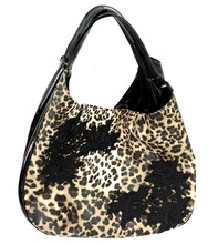 Japan wholesale patent leather handbags leopard pattern and embroidery designs rose women bag black