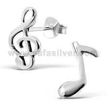 Music Note Oxidized .925 Sterling Silver High Quality 2014 Fashion Body Piercing Earrings