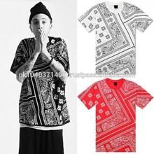 bandana print shirt/New Hip Hop Mens T Shirt Allover Paisley Bandana Print Graphic Tee 3 Color/Bandana Print Black White