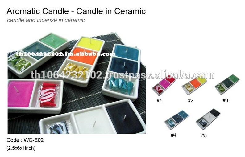 เทียนและธูปใน3บล็อกเซรามิก( 2.5x6x1นิ้ว) wc-e02, ทำในประเทศไทย