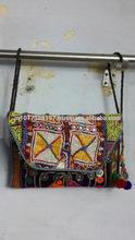 BEAUTIFUL INDIAN HANDMADE KUTCHI WORK DESIGNER EMBROIDERY VINTAGE TRIBAL INDIAN LONG HANDLING SHOULDER BAG