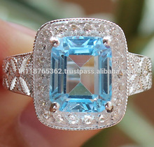 Certified 925 Sterling Silver jewelry wholesale Natural Blue Topaz 0.20 cts Natural White Topaz engagement fashion Ring Thailand