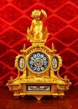 Original Antique 1840's French Japy Freres gilt ormolu & Sevres porcelain Figural Mantle Clock
