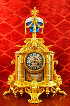 Original Antique French 24k gold gilt & Sevres porcelain Figural Mantle Clock