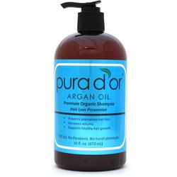 Pura d'or ARGAN OIL Hair Loss Prevention Premium Organic Shampoo, Brown and Blue, 16 Fluid Ounce