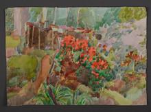 "Watercolor landscape ""In the garden"""