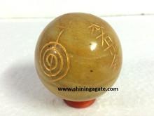 Yellow Aventurine Usai Reiki Sphere : Wholesale Engrave Reiki Sphere
