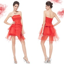 Strapless Red Ruffled Short Homecoming Cocktail Dress HE05191VE