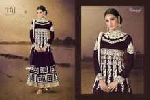 Classy and Rich Dark Purple Floor Length Semi-stitched Velvet Anarkali Dress