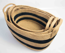 Jute oval Basket with handle. 3 pcs sets.