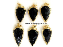 wholsale puntas de flecha de obsidiana negro pulgadas 1 electrolíticos colgante punta de flecha