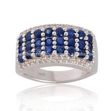 Designer Blue Sapphire, White Topaz Gemstone Ring in 925 Sterling Silver Ring Jewelry For Women
