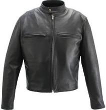Men's Cafe Racer Black Leather Motorcycle Jacket with Gun Pockets