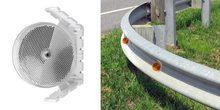 "Plastic Railguard Reflector, 3.25"" Dia, White, Double Sided, AGR model, winged design mounts"