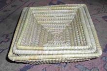 Palm leaf square basket. Size : 27x27 cm, H- 10 cm (Big one).