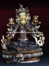 Buddha Statue - Oxidised Green Tara Buddha Statue Handmade in Nepal