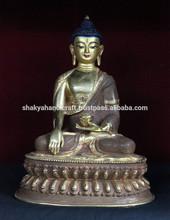 A buddha statue - Half Gold Plated Shakyamuni Buddha Statue Nepal