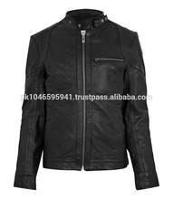 Round Collar Leather Jacket