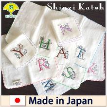 Initial embroidery handkerchief / White gauze & pile handkerchief / fancy goods
