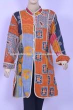 Kantha Cotton Jacket Reversible Floral Coat Winter Warm Women's Blazer