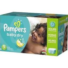 Pampers del bebé pañales secos, Tamaño 5 ( 27 + lbs ) - 112 count