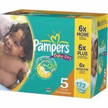 Pampers del bebé pañales secos, Tamaño 5 ( 27 + lbs ) - 172 count