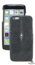 """PELGIO Genuine Polished Stingray Skin Mobile Phone i6 4.7"""" Hard Case Black"""