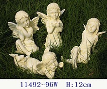 Polyresin fairy 4pcs/set in antique white color