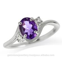 Natural Amethyst Gemstone Fine Silver Ring, Prong Setting Amethyst Gemstone Ring Jewelry,Oval Cut Amethyst Silver Gemstone Ring