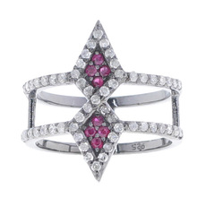 .925 Sterling Silver Pave Ruby Diamond Thumb Ring Indian Designer Handmade Wholesale Jewelry Gemstone Jewels
