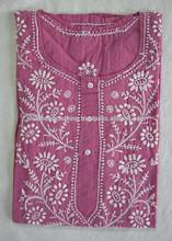 Buy Cotton Hotpink Chikankari Embroidered Short Kurti Tunic