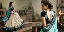 Beautiful Wedding Lycra saree in Cream and Sky Blue