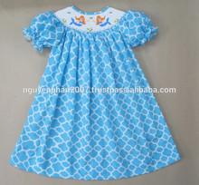 Blue quatrefoil Mermaid smocked bishop dress for infant toddler girls