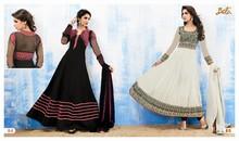 Glamours designer black & white embroidered long anarkali salwar kameez