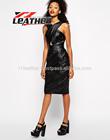 2014 Hottest Elegant Plaid Dress/ Ladies Leather Casual Dress