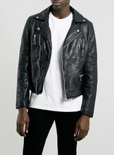 MEN'S BLACK LEATHER MIX BIKER JACKET