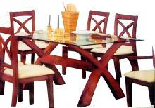 Wooden Assembled Dining glass table top with 6 chairs