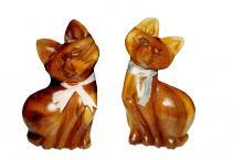 Hand-carved wooden Loving Cats - 8 Inches